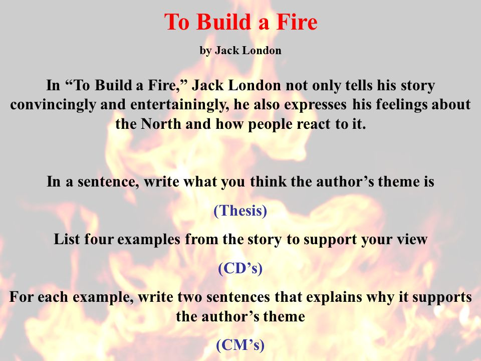 essay on short story to build a fire To build a fire jack london to build a fire literature essays are academic essays for citation these papers were written primarily by students and provide critical analysis of to build a fire.