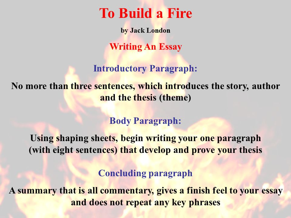 to build a fire essay setting