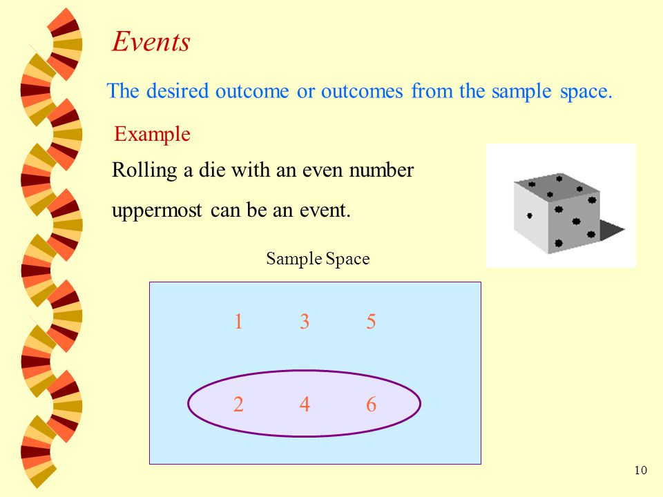 10 Example Rolling a die with an even number uppermost can be an event.
