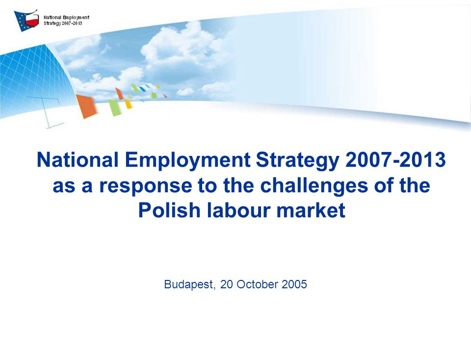 National Employment Strategy as a response to the challenges of the Polish labour market Budapest, 20 October 2005