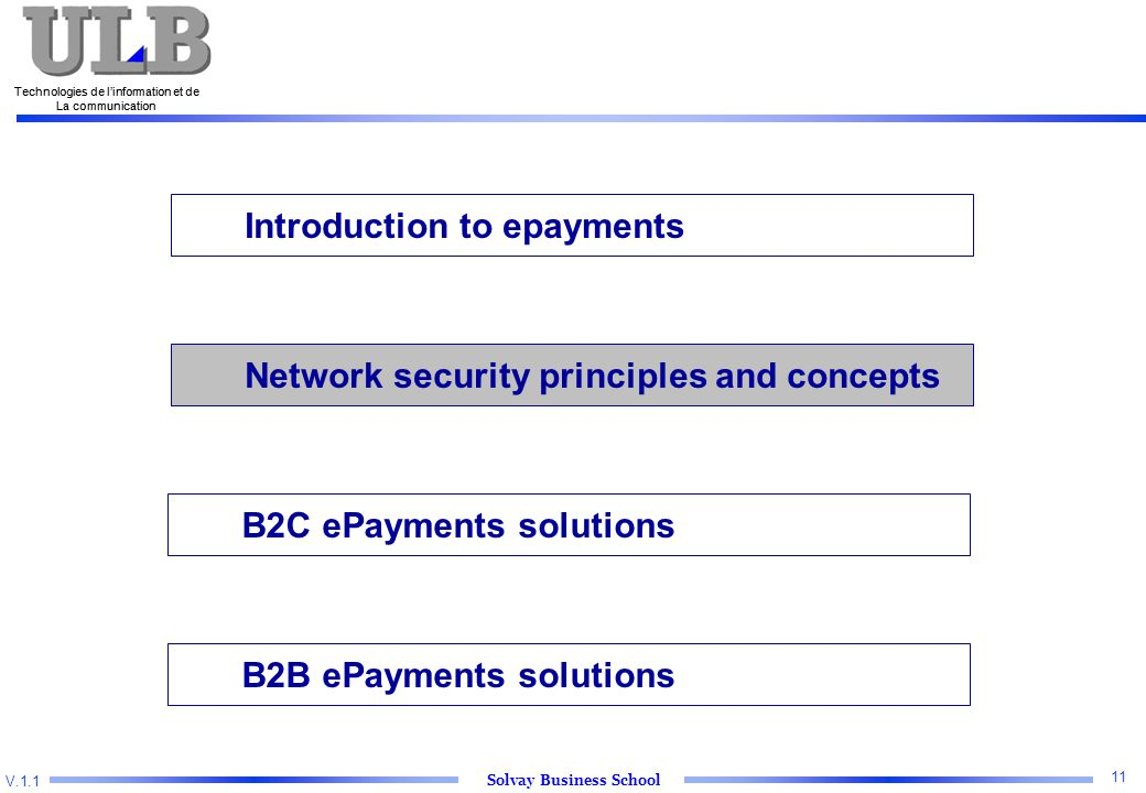 V.1.1 Solvay Business School Technologies de l'information et de La communication 11 Technologies de l'information et de La communication Introduction to epayments Network security principles and concepts B2C ePayments solutions B2B ePayments solutions