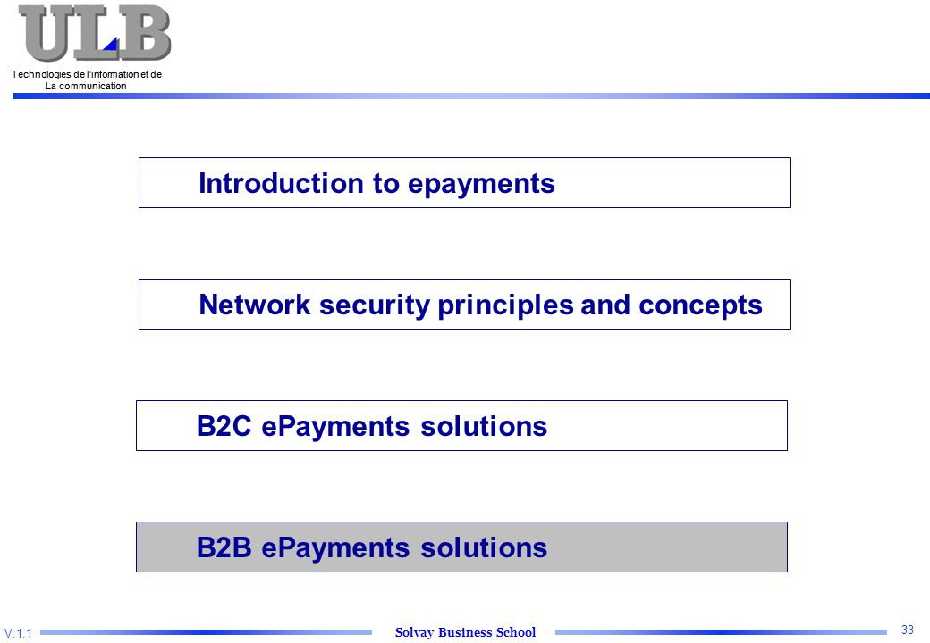 V.1.1 Solvay Business School Technologies de l'information et de La communication 33 Technologies de l'information et de La communication Introduction to epayments Network security principles and concepts B2C ePayments solutions B2B ePayments solutions
