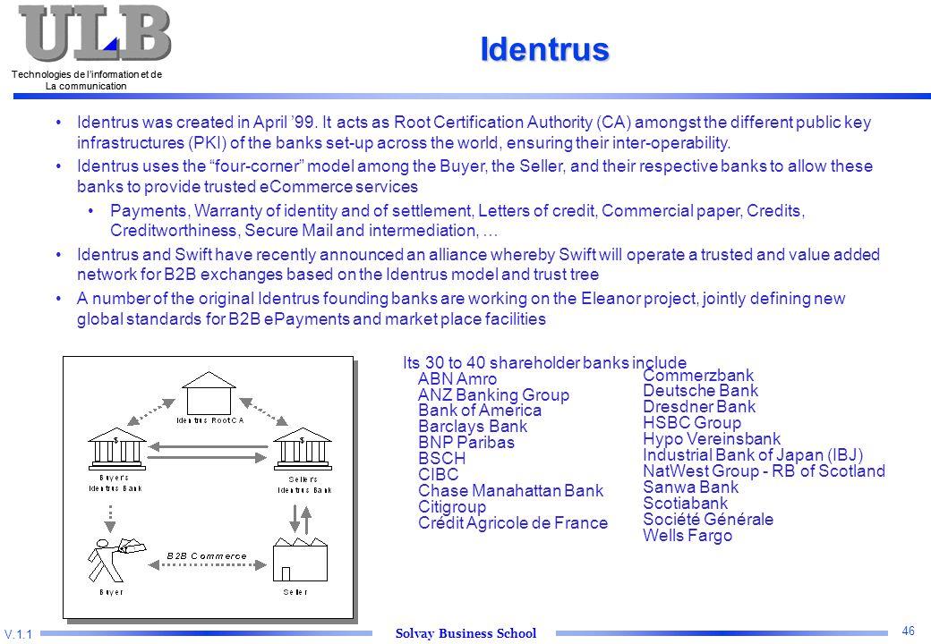 V.1.1 Solvay Business School Technologies de l'information et de La communication 46 Technologies de l'information et de La communication Identrus Identrus was created in April '99.