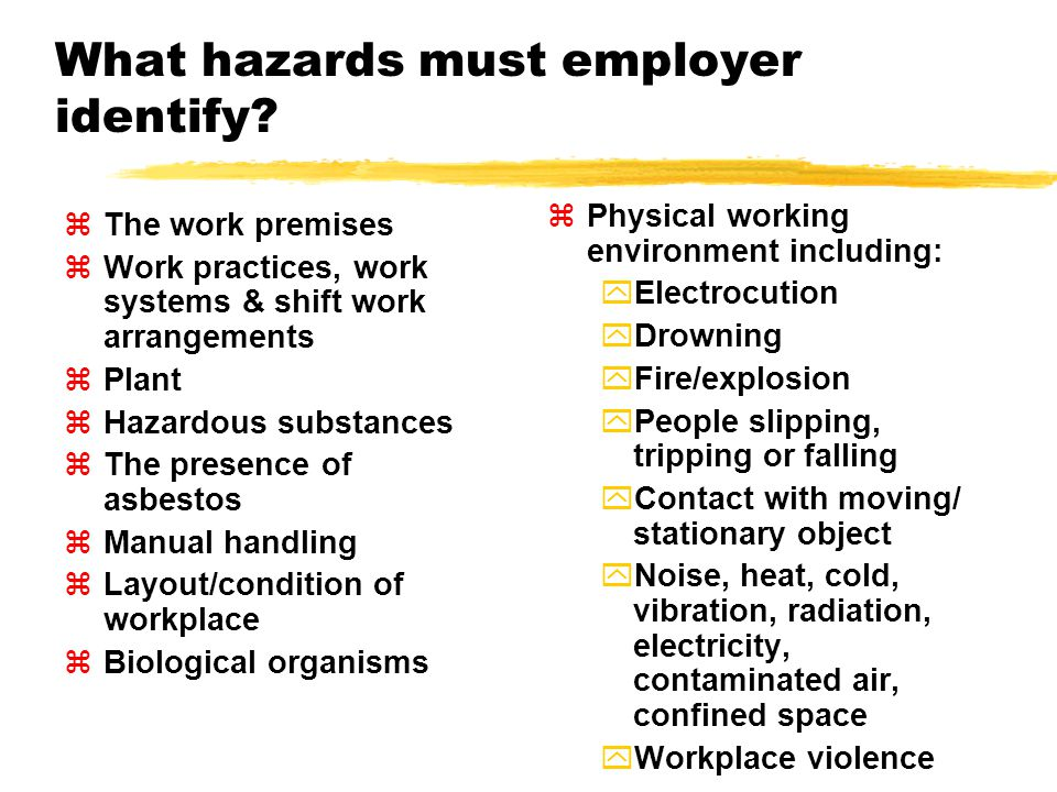 What hazards must employer identify.