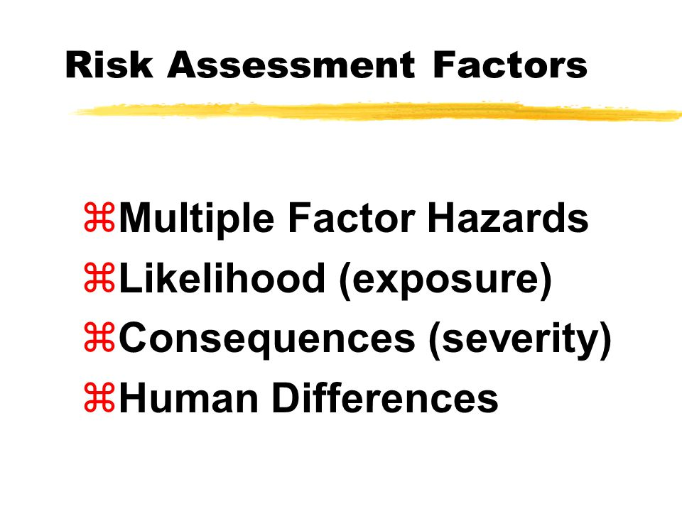 Risk Assessment Factors zMultiple Factor Hazards zLikelihood (exposure) zConsequences (severity) zHuman Differences
