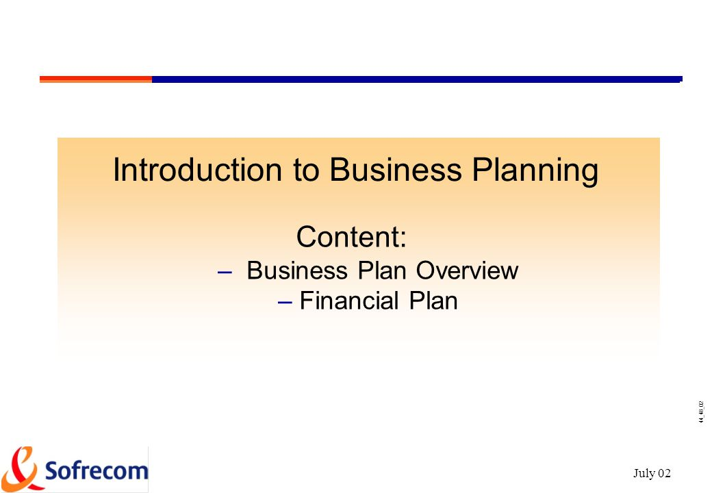 Introduction to a business plan
