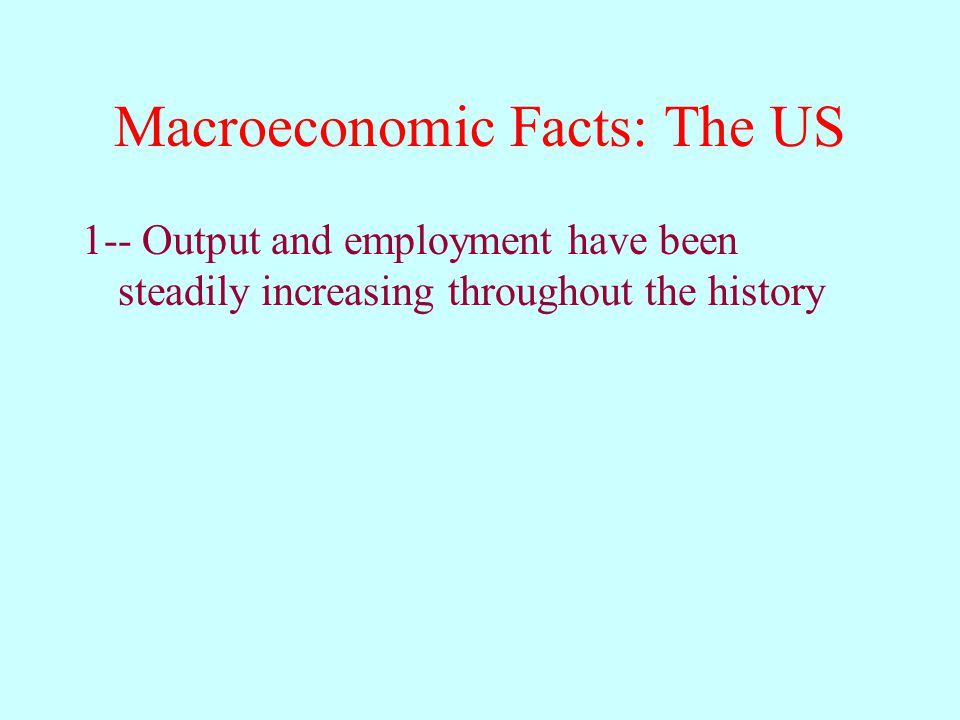 Macroeconomic Facts: The US 1-- Output and employment have been steadily increasing throughout the history