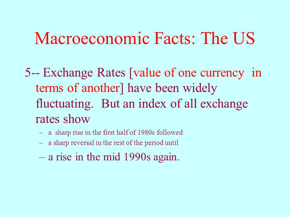 Macroeconomic Facts: The US 5-- Exchange Rates [value of one currency in terms of another] have been widely fluctuating.