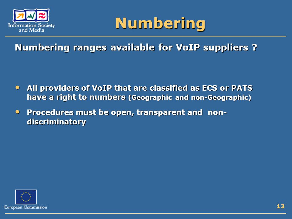 13 Numbering Numbering ranges available for VoIP suppliers .