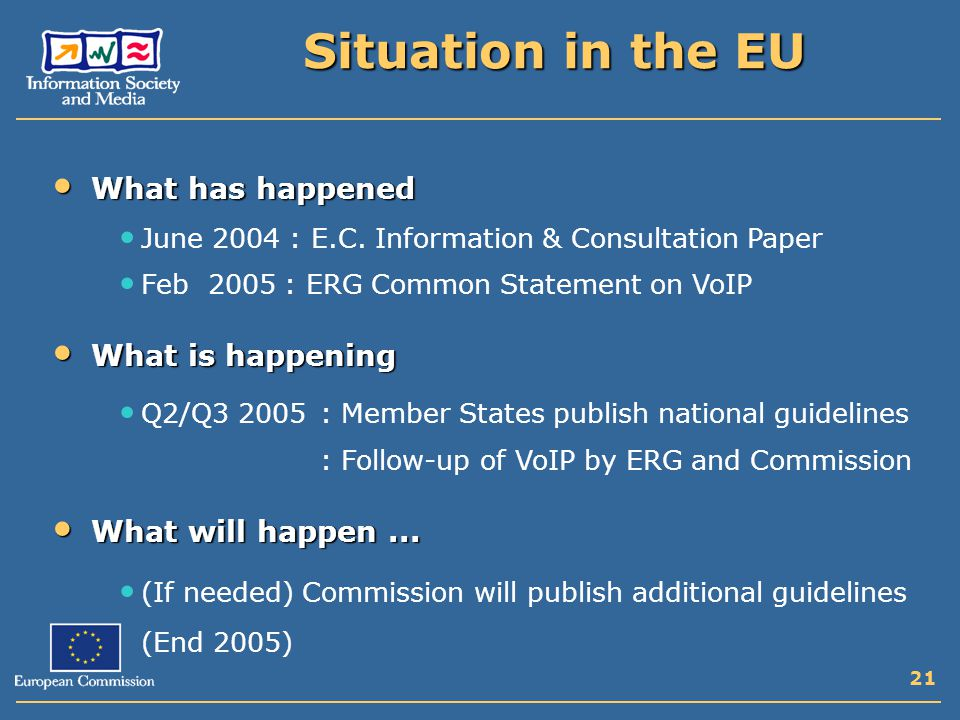 21 Situation in the EU What has happened What has happened June 2004 : E.C.