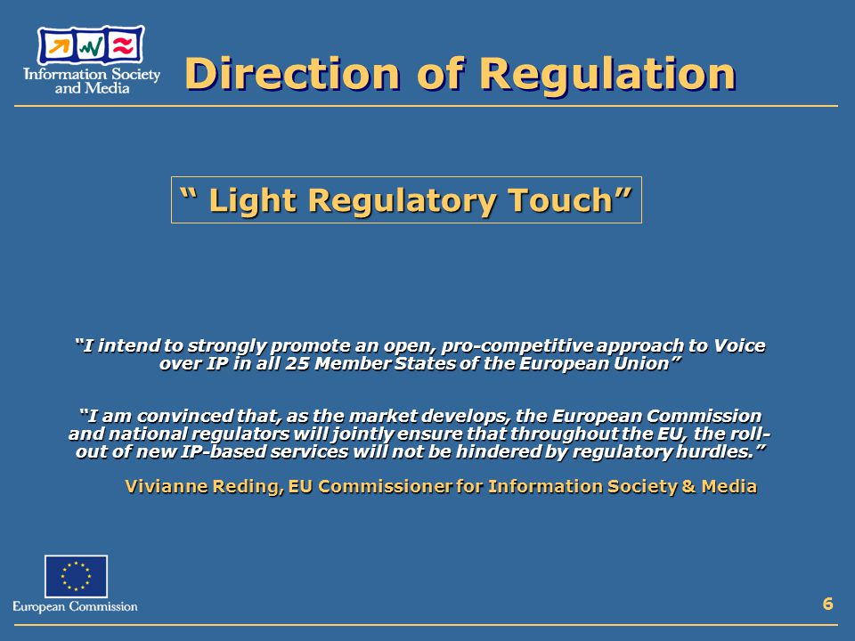 6 Direction of Regulation Light Regulatory Touch Vivianne Reding, EU Commissioner for Information Society & Media I intend to strongly promote an open, pro-competitive approach to Voice over IP in all 25 Member States of the European Union I am convinced that, as the market develops, the European Commission and national regulators will jointly ensure that throughout the EU, the roll- out of new IP-based services will not be hindered by regulatory hurdles.