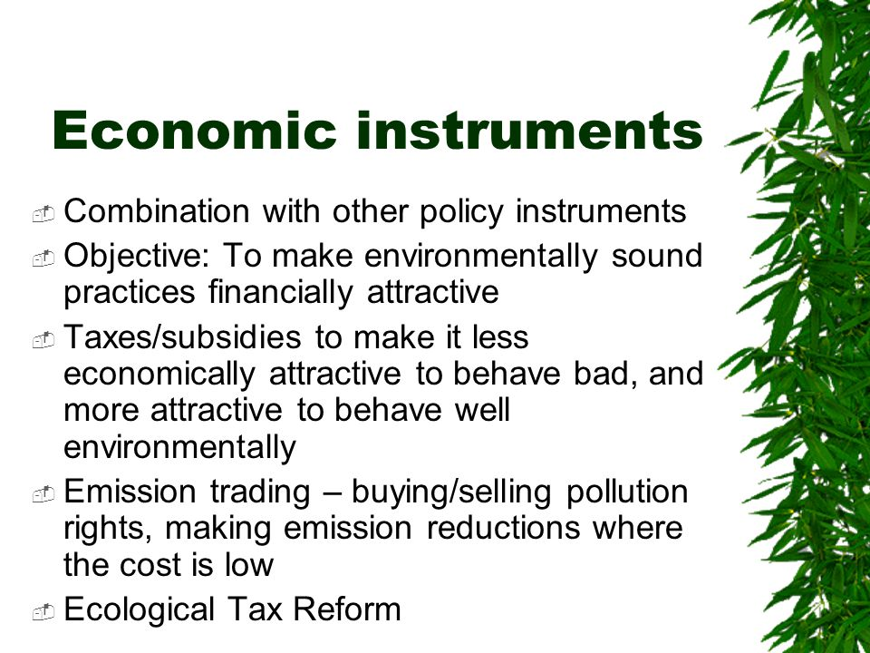 Economic instruments  Combination with other policy instruments  Objective: To make environmentally sound practices financially attractive  Taxes/subsidies to make it less economically attractive to behave bad, and more attractive to behave well environmentally  Emission trading – buying/selling pollution rights, making emission reductions where the cost is low  Ecological Tax Reform