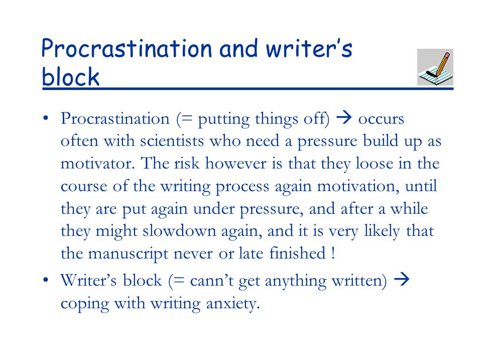 coping with procrastination essay Coping with procrastination essay sample the authors talk about one of the biggest shocks students face in college in realizing the considerable discipline required to get everything done that needs to get done each and every day.