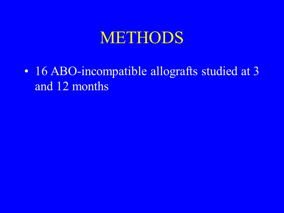 METHODS 16 ABO-incompatible allografts studied at 3 and 12 months