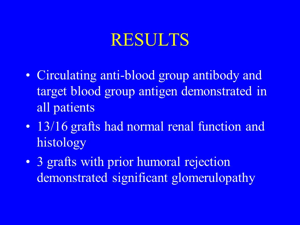 RESULTS Circulating anti-blood group antibody and target blood group antigen demonstrated in all patients 13/16 grafts had normal renal function and histology 3 grafts with prior humoral rejection demonstrated significant glomerulopathy