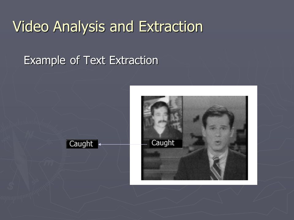 Video Analysis and Extraction Example of Text Extraction