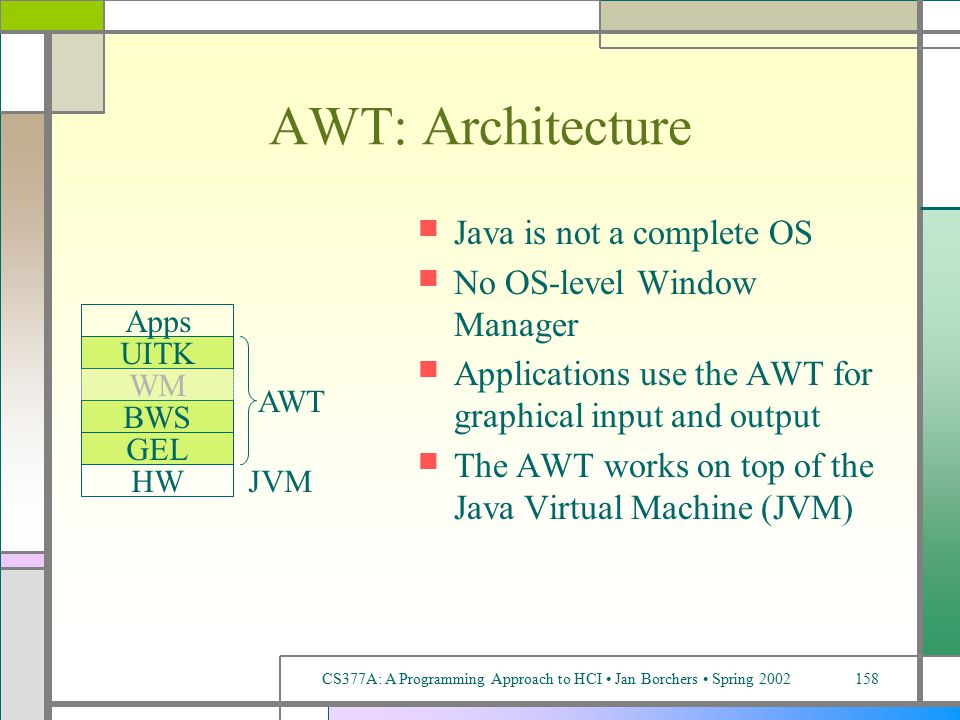 CS377A: A Programming Approach to HCI Jan Borchers Spring 2002158 AWT: Architecture Java is not a complete OS No OS-level Window Manager Applications use the AWT for graphical input and output The AWT works on top of the Java Virtual Machine (JVM) BWS GEL HW UITK Apps JVM WM AWT