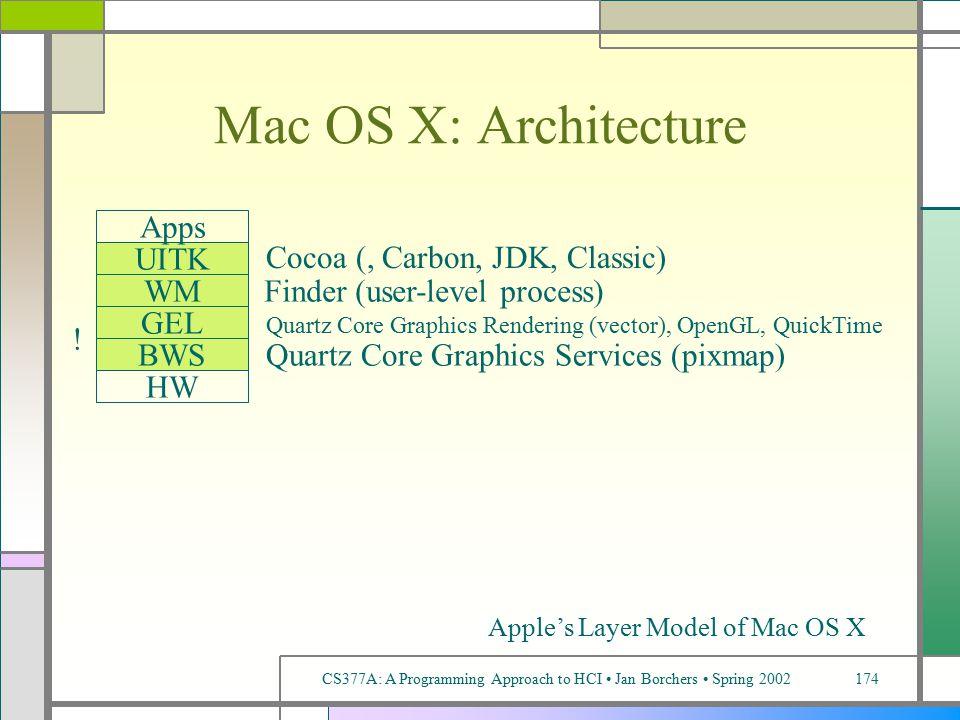 CS377A: A Programming Approach to HCI Jan Borchers Spring 2002174 Mac OS X: Architecture BWS GEL HW UITK Apps WM Quartz Core Graphics Services (pixmap) Quartz Core Graphics Rendering (vector), OpenGL, QuickTime .