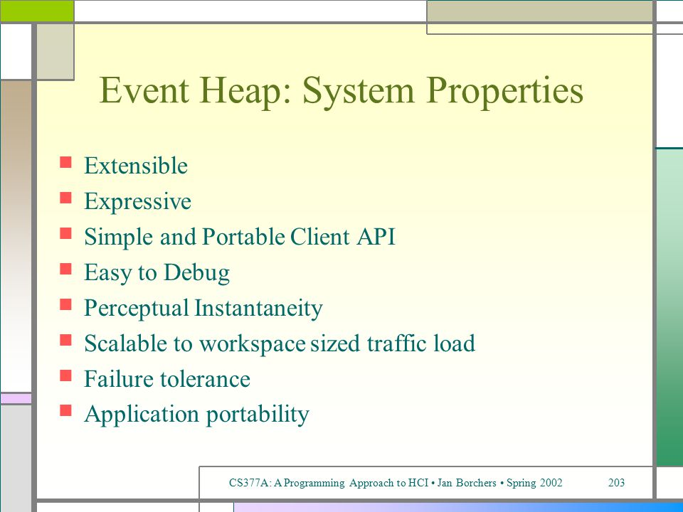 CS377A: A Programming Approach to HCI Jan Borchers Spring 2002203 Event Heap: System Properties Extensible Expressive Simple and Portable Client API Easy to Debug Perceptual Instantaneity Scalable to workspace sized traffic load Failure tolerance Application portability