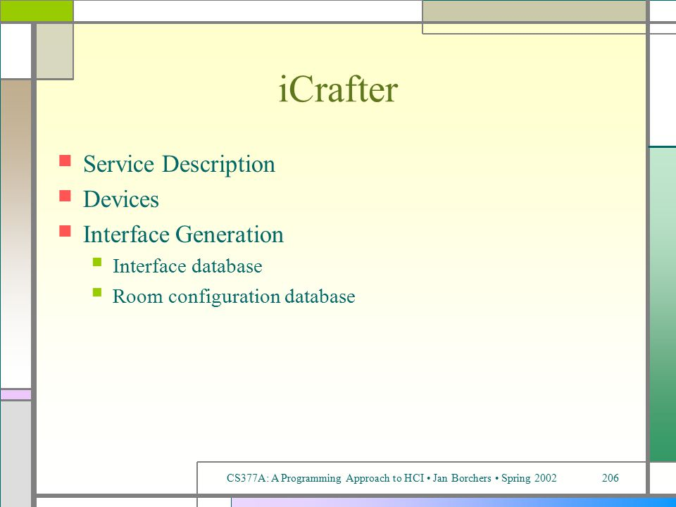 CS377A: A Programming Approach to HCI Jan Borchers Spring 2002206 iCrafter Service Description Devices Interface Generation Interface database Room configuration database
