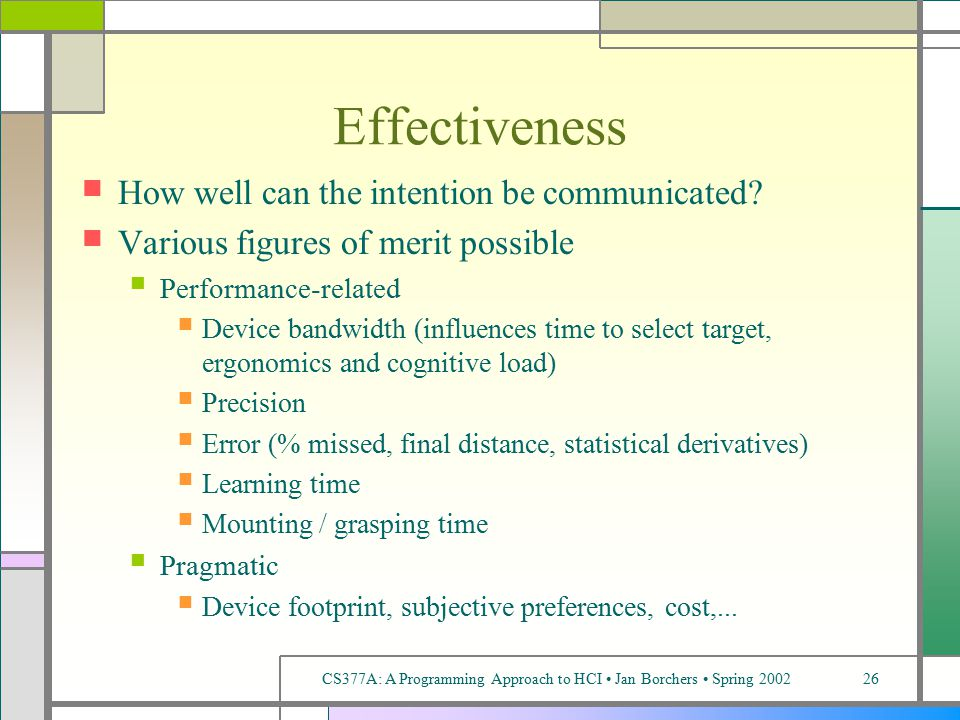 CS377A: A Programming Approach to HCI Jan Borchers Spring 200226 Effectiveness How well can the intention be communicated.