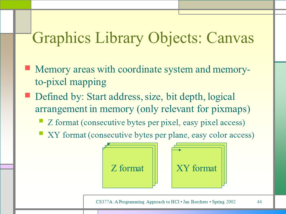 CS377A: A Programming Approach to HCI Jan Borchers Spring 200244 Graphics Library Objects: Canvas Memory areas with coordinate system and memory- to-pixel mapping Defined by: Start address, size, bit depth, logical arrangement in memory (only relevant for pixmaps) Z format (consecutive bytes per pixel, easy pixel access) XY format (consecutive bytes per plane, easy color access) Z formatXY format