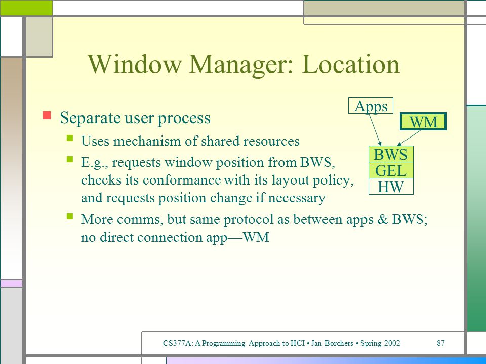 CS377A: A Programming Approach to HCI Jan Borchers Spring 200287 Window Manager: Location Separate user process Uses mechanism of shared resources E.g., requests window position from BWS, checks its conformance with its layout policy, and requests position change if necessary More comms, but same protocol as between apps & BWS; no direct connection app—WM WM BWS GEL HW Apps