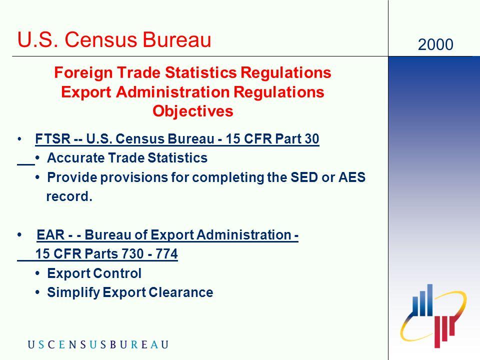 2000 US Census Bureau Foreign Trade Statistics Regulations 15