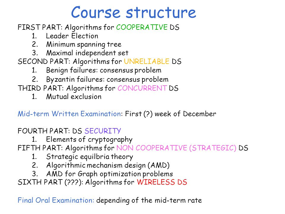 Course structure FIRST PART: Algorithms for COOPERATIVE DS 1.Leader Election 2.Minimum spanning tree 3.Maximal independent set SECOND PART: Algorithms for UNRELIABLE DS 1.Benign failures: consensus problem 2.Byzantin failures: consensus problem THIRD PART: Algorithms for CONCURRENT DS 1.Mutual exclusion Mid-term Written Examination: First ( ) week of December FOURTH PART: DS SECURITY 1.Elements of cryptography FIFTH PART: Algorithms for NON COOPERATIVE (STRATEGIC) DS 1.Strategic equilbria theory 2.Algorithmic mechanism design (AMD) 3.AMD for Graph optimization problems SIXTH PART ( ): Algorithms for WIRELESS DS Final Oral Examination: depending of the mid-term rate
