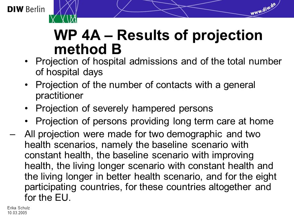 Erika Schulz WP 4A – Results of projection method B Projection of hospital admissions and of the total number of hospital days Projection of the number of contacts with a general practitioner Projection of severely hampered persons Projection of persons providing long term care at home –All projection were made for two demographic and two health scenarios, namely the baseline scenario with constant health, the baseline scenario with improving health, the living longer scenario with constant health and the living longer in better health scenario, and for the eight participating countries, for these countries altogether and for the EU.