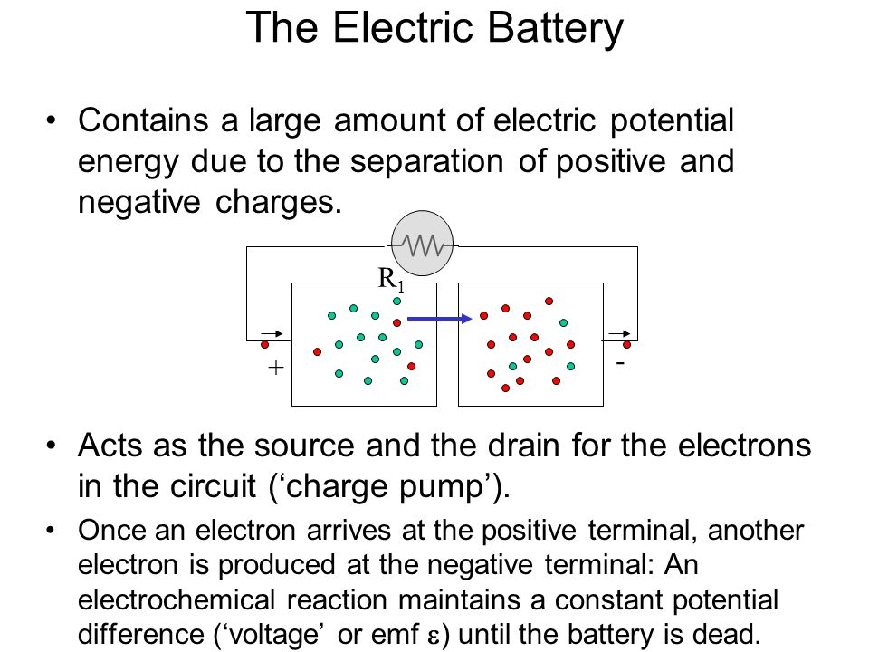The Electric Battery Contains a large amount of electric potential energy due to the separation of positive and negative charges.