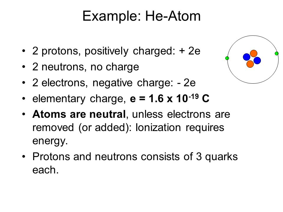 Example: He-Atom 2 protons, positively charged: + 2e 2 neutrons, no charge 2 electrons, negative charge: - 2e elementary charge, e = 1.6 x 10 -19 C Atoms are neutral, unless electrons are removed (or added): Ionization requires energy.
