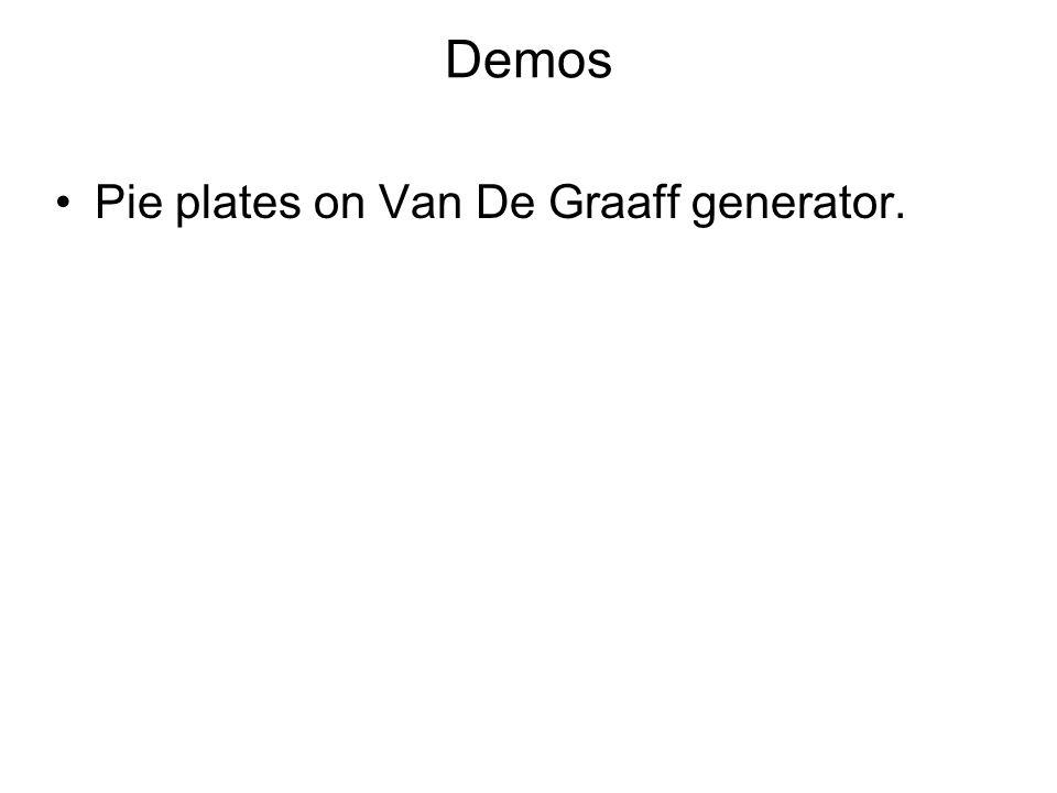 Demos Pie plates on Van De Graaff generator.