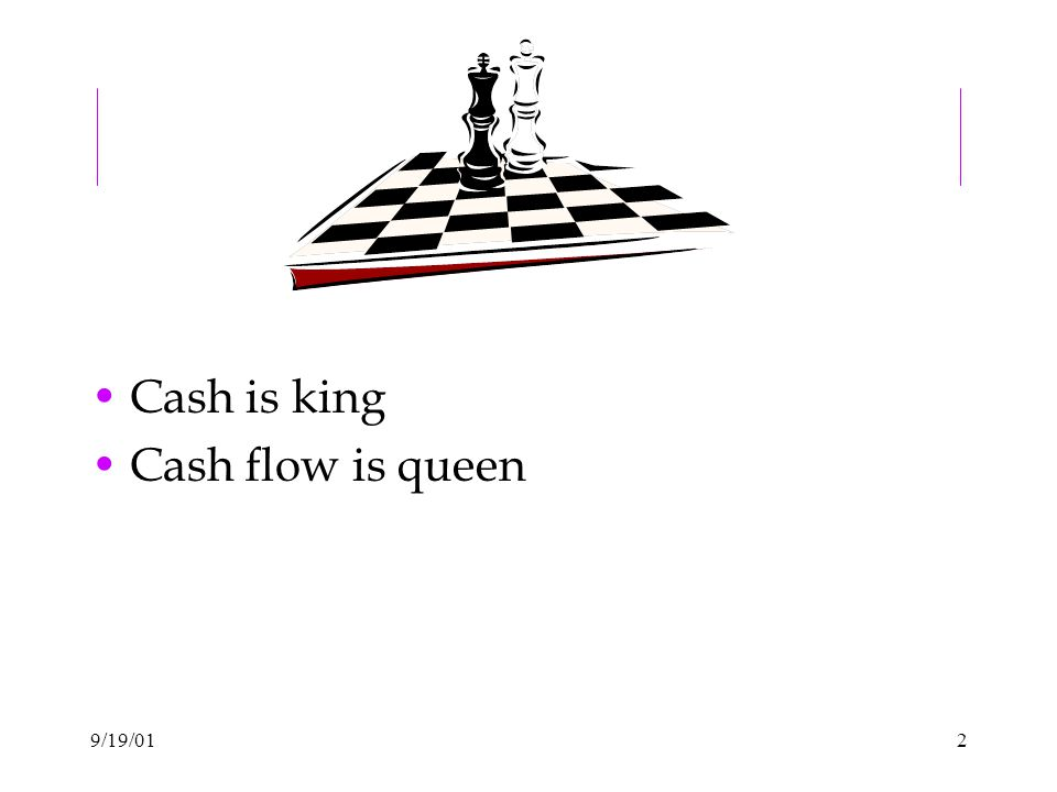 9/19/012 Cash is king Cash flow is queen