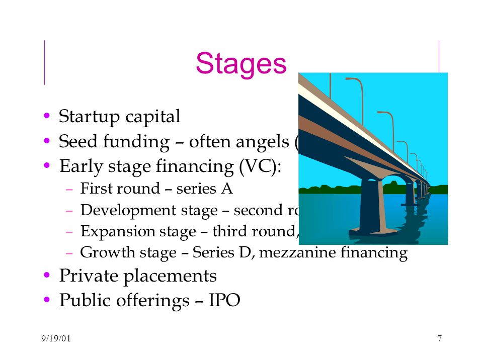 9/19/017 Stages Startup capital Seed funding – often angels (individuals) Early stage financing (VC): –First round – series A –Development stage – second round, series B –Expansion stage – third round, series C –Growth stage – Series D, mezzanine financing Private placements Public offerings – IPO