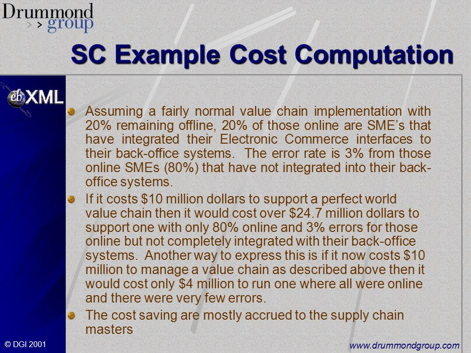© DGI SC Example Cost Computation Assuming a fairly normal value chain implementation with 20% remaining offline, 20% of those online are SME's that have integrated their Electronic Commerce interfaces to their back-office systems.