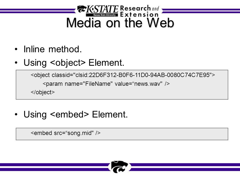 Media on the Web Inline method. Using Element.