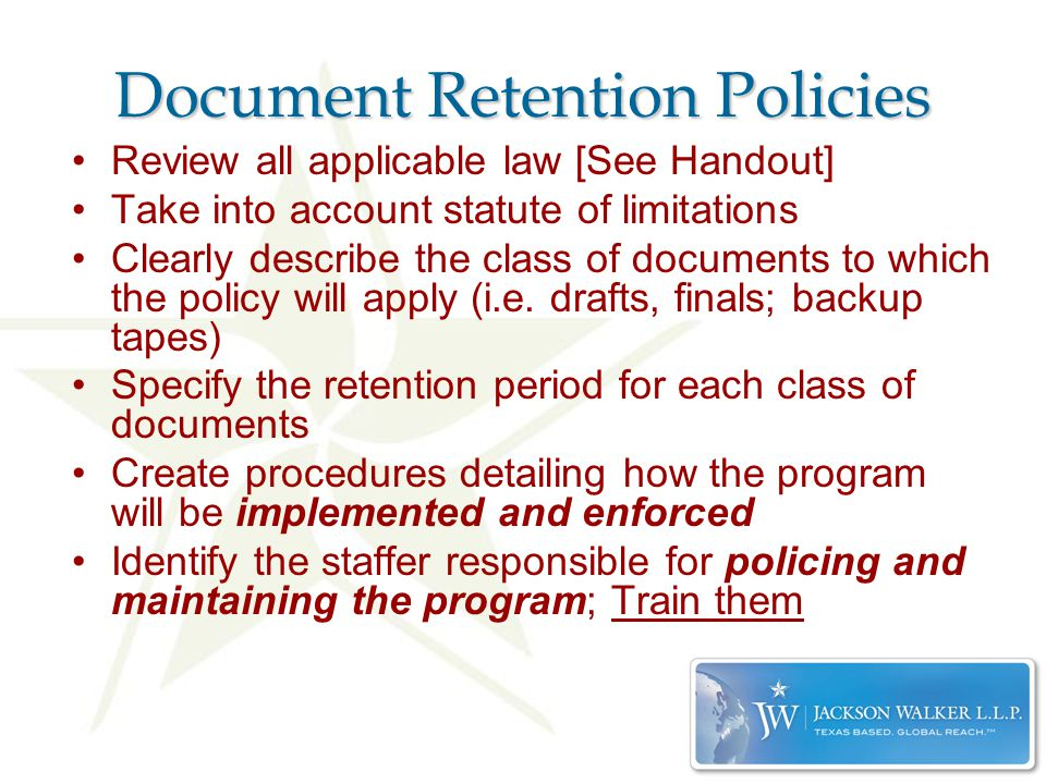 Records Management And Document Retention Stephanie L. Chandler