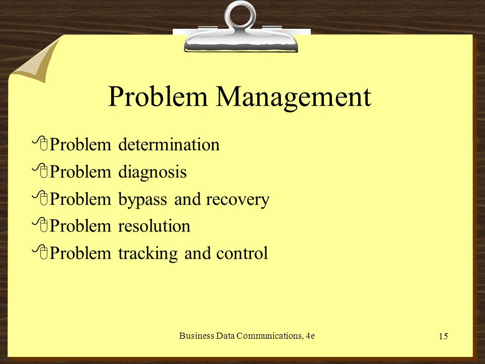Business Data Communications, 4e 15 Problem Management 8Problem determination 8Problem diagnosis 8Problem bypass and recovery 8Problem resolution 8Problem tracking and control