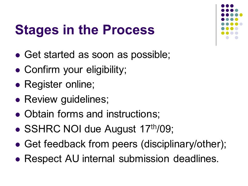 Stages in the Process Get started as soon as possible; Confirm your eligibility; Register online; Review guidelines; Obtain forms and instructions; SSHRC NOI due August 17 th /09; Get feedback from peers (disciplinary/other); Respect AU internal submission deadlines.