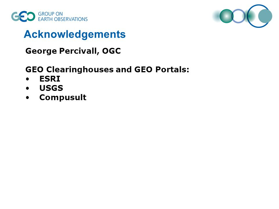 Acknowledgements George Percivall, OGC GEO Clearinghouses and GEO Portals: ESRI USGS Compusult