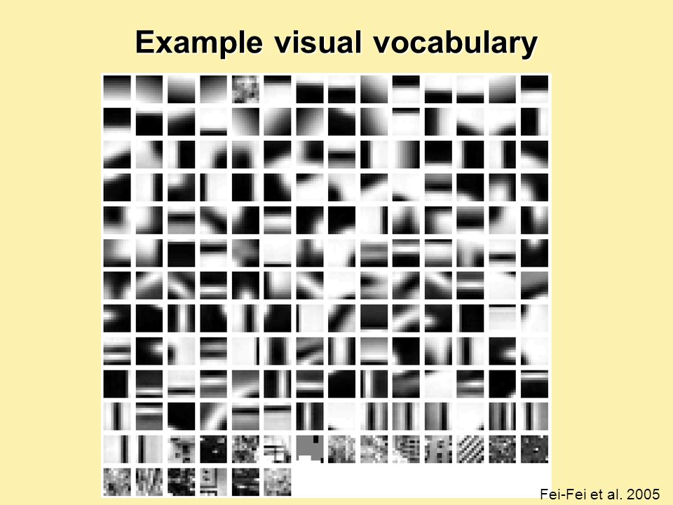 Example visual vocabulary Fei-Fei et al. 2005