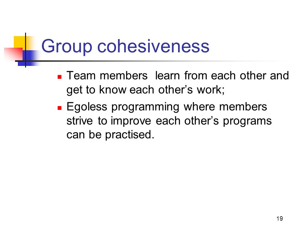 19 Group cohesiveness Team members learn from each other and get to know each other's work; Egoless programming where members strive to improve each other's programs can be practised.