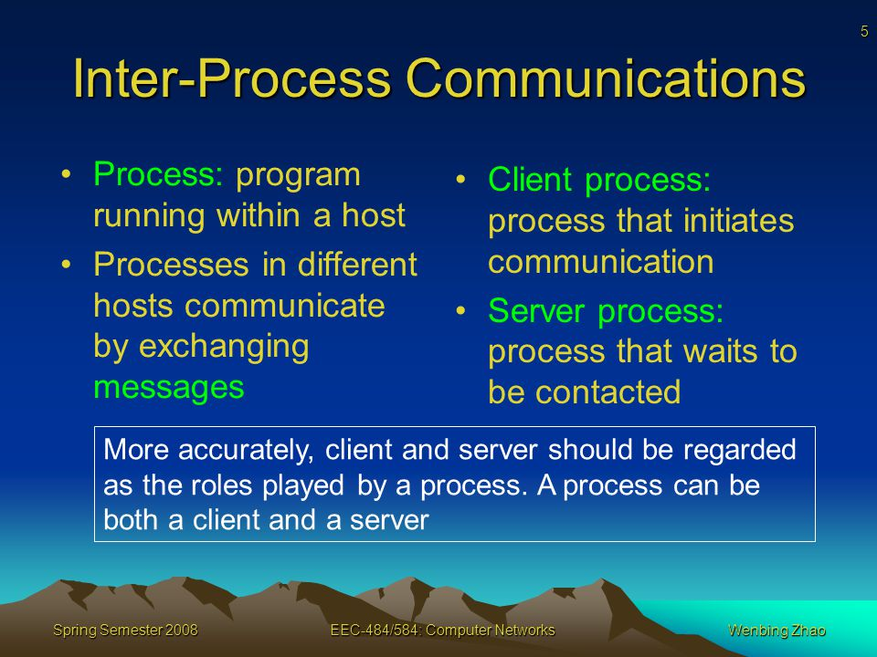 5 Spring Semester 2008EEC-484/584: Computer NetworksWenbing Zhao Inter-Process Communications Process: program running within a host Processes in different hosts communicate by exchanging messages Client process: process that initiates communication Server process: process that waits to be contacted More accurately, client and server should be regarded as the roles played by a process.