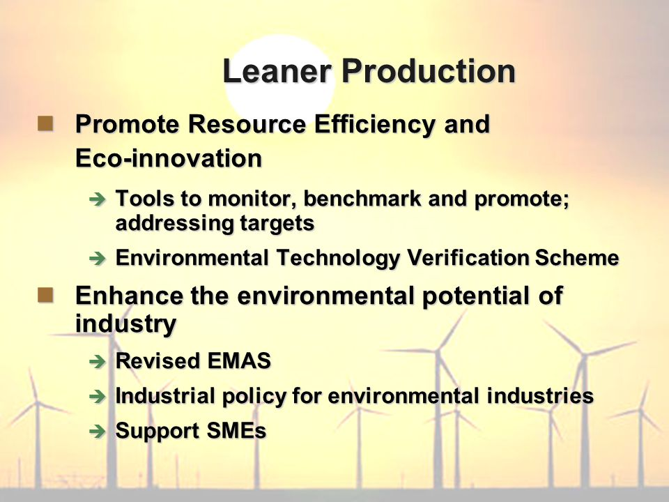 Leaner Production Promote Resource Efficiency and Eco-innovation Promote Resource Efficiency and Eco-innovation  Tools to monitor, benchmark and promote; addressing targets  Environmental Technology Verification Scheme Enhance the environmental potential of industry Enhance the environmental potential of industry  Revised EMAS  Industrial policy for environmental industries  Support SMEs