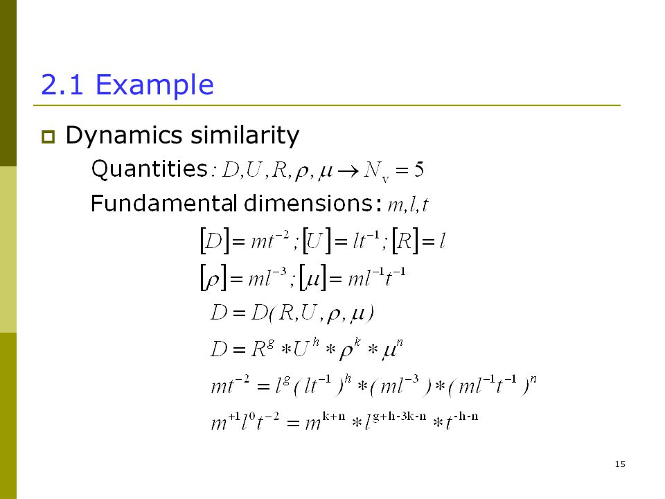 Example  Dynamics similarity