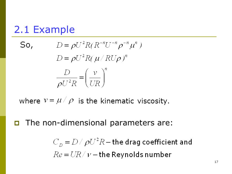Example where is the kinematic viscosity.  The non-dimensional parameters are: