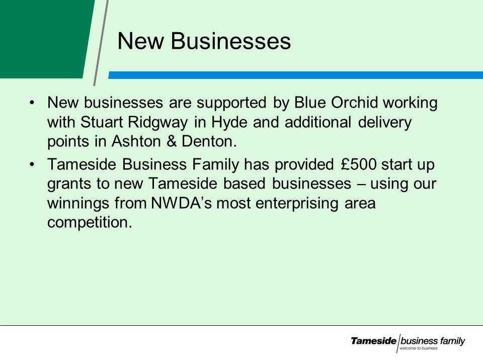 New Businesses New businesses are supported by Blue Orchid working with Stuart Ridgway in Hyde and additional delivery points in Ashton & Denton.