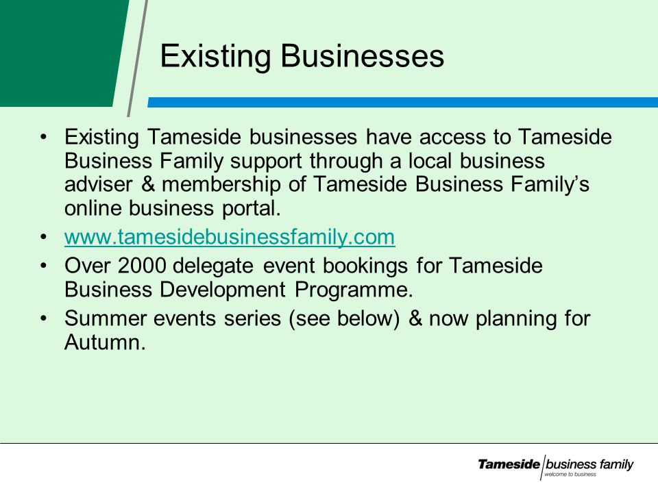Existing Businesses Existing Tameside businesses have access to Tameside Business Family support through a local business adviser & membership of Tameside Business Family's online business portal.