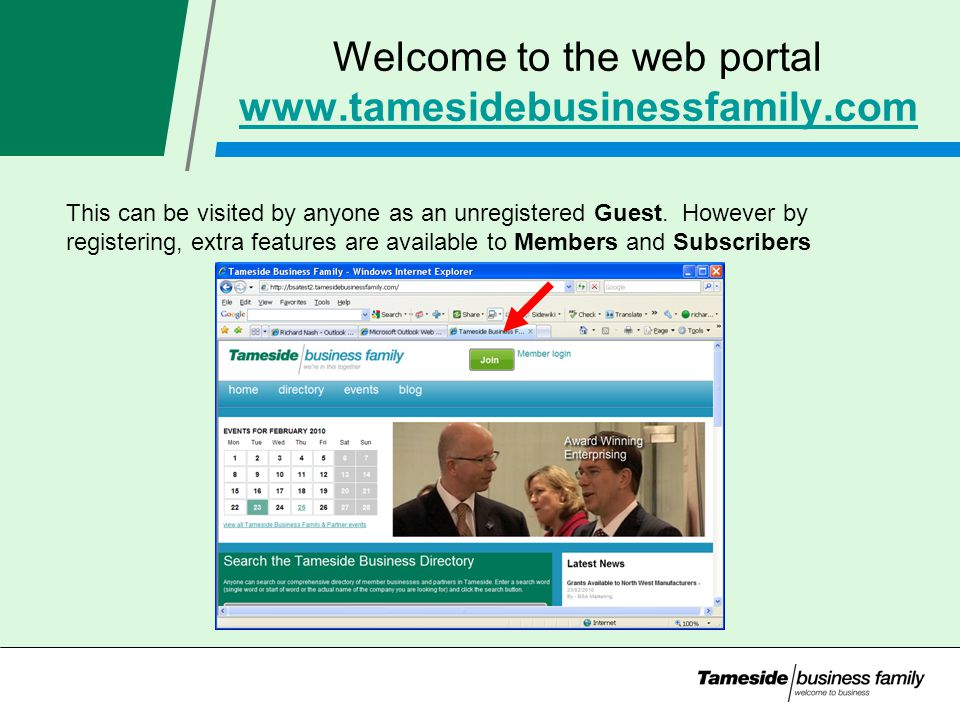 Welcome to the web portal     This can be visited by anyone as an unregistered Guest.